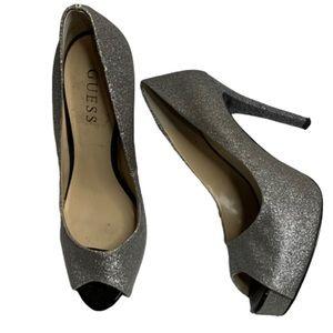Guess silver glitter peep toe heels